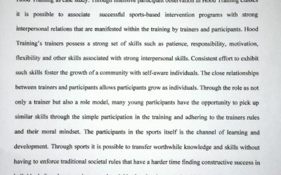 Wissenschaftliches Arbeiten über das Hood Training